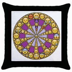 Circle Of Emotions Black Throw Pillow Case by FunWithFibro