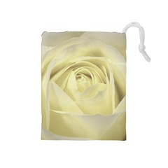 Cream Rose Drawstring Pouch (medium)