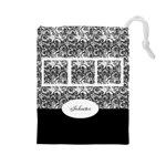 Black and white Drawstring Pouch (large)