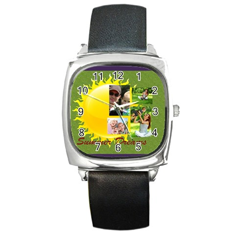 Summer By Summer Time    Square Metal Watch   8r64vzyga3fv   Www Artscow Com Front