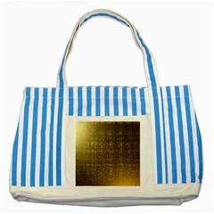 Gold Blue Striped Tote Bag by Colorfulart23