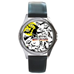 Happy Halloween Collage Round Leather Watch (silver Rim) by StuffOrSomething