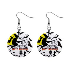 Happy Halloween Collage Mini Button Earrings