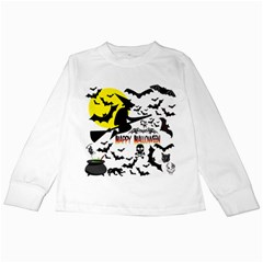 Happy Halloween Collage Kids Long Sleeve T Shirt by StuffOrSomething