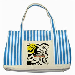 Happy Halloween Collage Blue Striped Tote Bag by StuffOrSomething