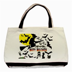 Happy Halloween Collage Twin Sided Black Tote Bag by StuffOrSomething