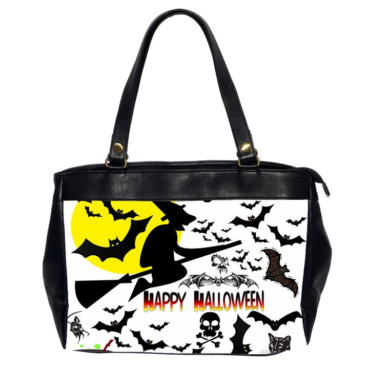 Happy Halloween Collage Oversize Office Handbag (Two Sides)