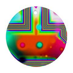 Crossroads Of Awakening, Abstract Rainbow Doorway  Round Ornament by DianeClancy