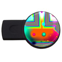 Crossroads Of Awakening, Abstract Rainbow Doorway  4gb Usb Flash Drive (round) by DianeClancy