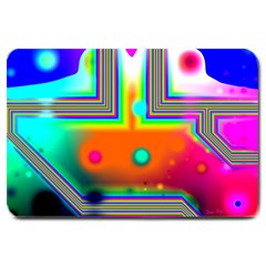 Crossroads Of Awakening, Abstract Rainbow Doorway  Large Door Mat by DianeClancy