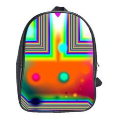 Crossroads Of Awakening, Abstract Rainbow Doorway  School Bag (xl) by DianeClancy
