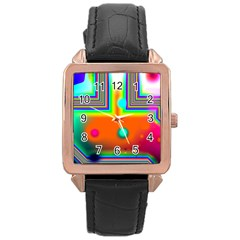 Crossroads Of Awakening, Abstract Rainbow Doorway  Rose Gold Leather Watch