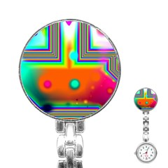 Crossroads Of Awakening, Abstract Rainbow Doorway  Stainless Steel Nurses Watch by DianeClancy