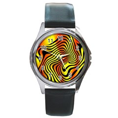Colored Zebra Round Leather Watch (silver Rim) by Colorfulart23