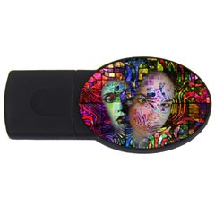 Artistic Confusion Of Brain Fog 2gb Usb Flash Drive (oval) by FunWithFibro