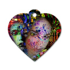 Artistic Confusion Of Brain Fog Dog Tag Heart (one Sided)  by FunWithFibro