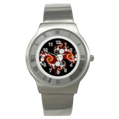 Mysterious Dance In Orange, Gold, White In Joy Stainless Steel Watch (slim) by DianeClancy