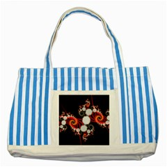 Mysterious Dance In Orange, Gold, White In Joy Blue Striped Tote Bag by DianeClancy