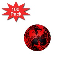 Yin Yang Dragons Red And Black 1  Mini Button Magnet (100 Pack) by JeffBartels