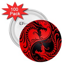 Yin Yang Dragons Red And Black 2 25  Button (100 Pack) by JeffBartels