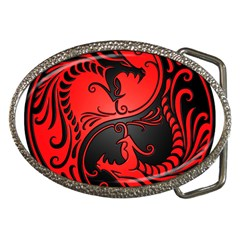Yin Yang Dragons Red And Black Belt Buckle (oval) by JeffBartels