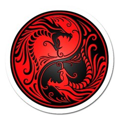 Yin Yang Dragons Red And Black Magnet 5  (round) by JeffBartels
