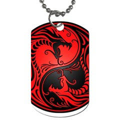 Yin Yang Dragons Red And Black Dog Tag (one Sided) by JeffBartels