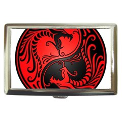Yin Yang Dragons Red And Black Cigarette Money Case by JeffBartels