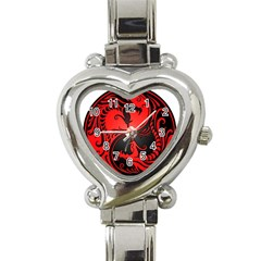 Yin Yang Dragons Red And Black Heart Italian Charm Watch  by JeffBartels