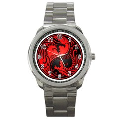 Yin Yang Dragons Red And Black Sport Metal Watch by JeffBartels