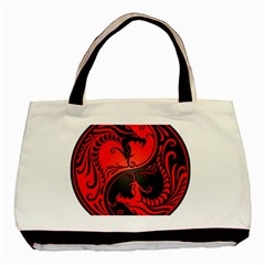 Yin Yang Dragons Red And Black Classic Tote Bag by JeffBartels