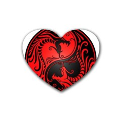 Yin Yang Dragons Red And Black Drink Coasters 4 Pack (heart)  by JeffBartels