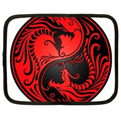 Yin Yang Dragons Red And Black Netbook Sleeve (xxl) by JeffBartels