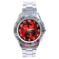 Yin Yang Dragons Red And Black Stainless Steel Watch by JeffBartels