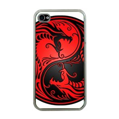 Yin Yang Dragons Red And Black Apple Iphone 4 Case (clear) by JeffBartels