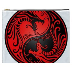 Yin Yang Dragons Red And Black Cosmetic Bag (xxxl) by JeffBartels