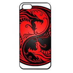 Yin Yang Dragons Red And Black Apple Iphone 5 Seamless Case (black) by JeffBartels