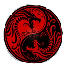Yin Yang Dragons Red And Black 18  Premium Round Cushion
