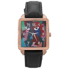Abstract God Pastel Rose Gold Leather Watch  by AlfredFoxArt