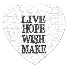 Live Hope Wish Make Jigsaw Puzzle (heart) by AlfredFoxArt