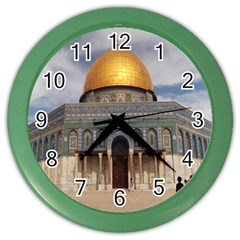 The Dome Of The Rock  Wall Clock (color) by AlfredFoxArt