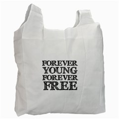 Forever Young White Reusable Bag (Two Sides) by AlfredFoxArt