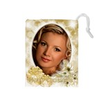 Gold Merry Christmas Drawstring Pouch (medium)