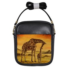 Giraffe Mother & Baby Girl s Sling Bag by ArtByThree