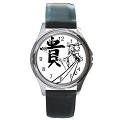 A Swordsman s Honor Round Leather Watch (silver Rim) by Viewtifuldrew