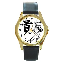 A Swordsman s Honor Round Leather Watch (gold Rim)  by Viewtifuldrew