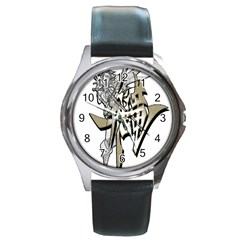 The Flying Dragon Round Leather Watch (silver Rim) by Viewtifuldrew