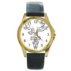 Maybe I m A Lion Round Leather Watch (gold Rim)  by Viewtifuldrew