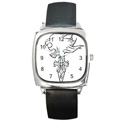 Maybe I m A Lion Square Leather Watch by Viewtifuldrew