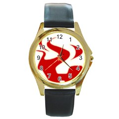 Fever Time Round Leather Watch (gold Rim)  by Viewtifuldrew